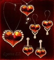 Set jewelry hearts by Lyotta