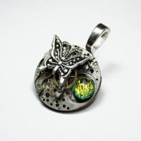 Steampunk Glass Butterfly by Create-A-Pendant