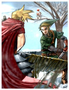 Cloud vs Link Battle by Ek-cg