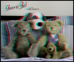 Bear in Bed with friends 3D anaglyph by zippy6234