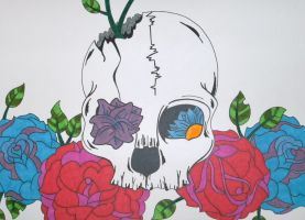 Cracked Rose Skull by ToniTiger415