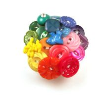 Color Wheel Button Brooch by annjepsen