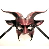 Leather Goat Mask red and black by teonova