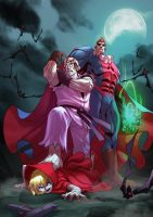 Street Fighter  X Darkstalkers  - Dan X Demitri by zecarlos