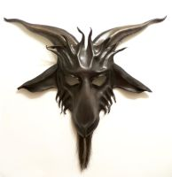 Leather Goat Mask Baphomet Krampus horsehair beard by teonova