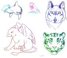 Animal Sketchies by Spudfuzz