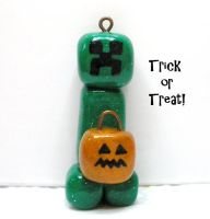 Creeper with pumpkin charm for Halloween by Brisbykins