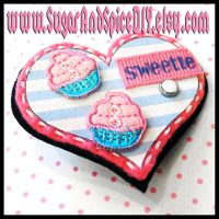 Cupcake Sweetie Heart Brooch by wickedland