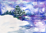 Winter watercolor 2 by Tellaine