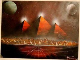 Space pyramid spray painting 1 by welikeme23