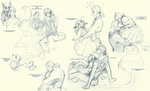 Snake and Snail Sketchdump by Lear-is-not-amused