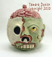 Zombie candy bowl with Brain lid. by TiltedAsylum
