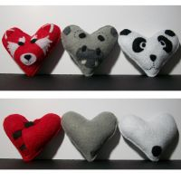 Red panda, hippo, and panda hearts by BLacKIe-dARkcHIld