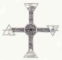 Druid Celtic Cross Tattoo by CaelynTek