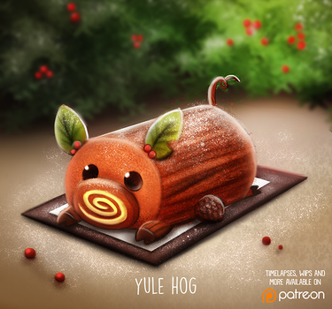 Daily Paint 1478. Yule Hog by Cryptid-Creations