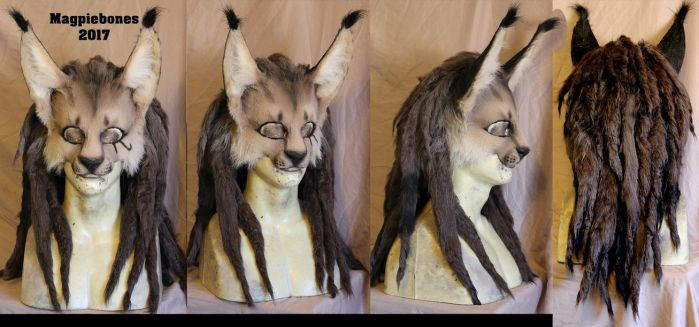 Caracal LARP Mask with dreads by Magpieb0nes