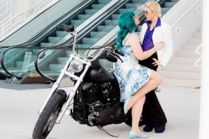 Haruka and Michiru Motorcycle Date, Sailor Moon by MEW21