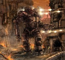 battletech akuma at factory by flyingdebris