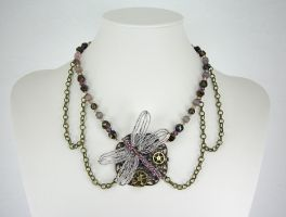 Purple Dragonfly Necklace by Lady-Blue