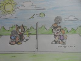 Chase and Skye Playing Tennis by JPPAqui