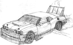 Post Apocalyptic Dodge Challenger by RedSpider2008