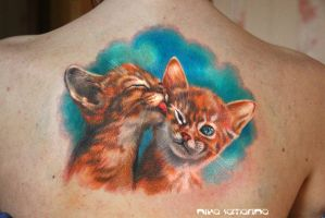 cat tenderness tattoo by NikaSamarina