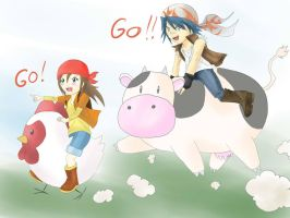Chelse and Chicken VS Luke and Cow by superu-shounen