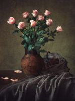 Still life with pink roses by Daykiney