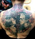 Frankenstein theme back piece by catbones