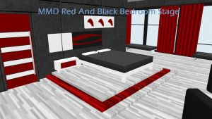 MMD Red And Black Bedroom Stage DL by swiftcat-mooshi