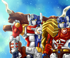 Big Convoy and Lio Convoy by mucun
