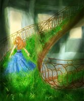Running in grassy stairs by ProcneA