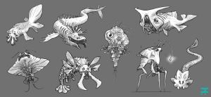 Creature Concepts 2 by Seaurchinstosun