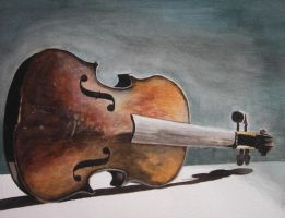 Old Violin - Watercolor by Brandon-Schaefer