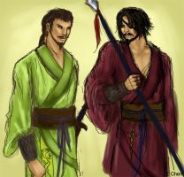 Zhang Liao and Xiahou Dun by serpentdoness