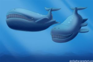 Pair of Wailord by DarkFeather