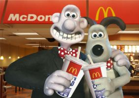 Wallace and Gromit at mcdonald's by mrlorgin