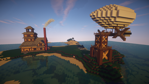 Minecraft Island House 4 - with Airship by Flexico