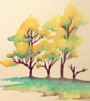 Watercolour Trees by SqueezeBoxx