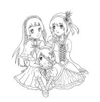 Three girls lineart by yoco-chan