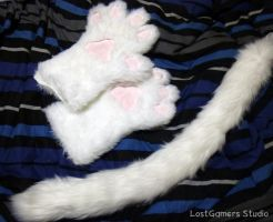 White Cat Set [Paws + Tail] by TentacleLoveGoddess