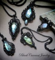 Black wire Pendants with Labradorite and Moonstone by blackcurrantjewelry