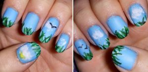 Pastoral Nail Art by quixii