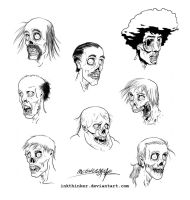 Zombie heads by Inkthinker