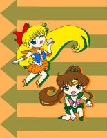 Sailor Jupiter and Sailor Venus by CL-Pinkskull