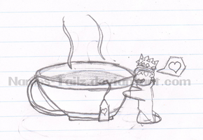 Chibi Marron and a tea cup by Names-Tailz
