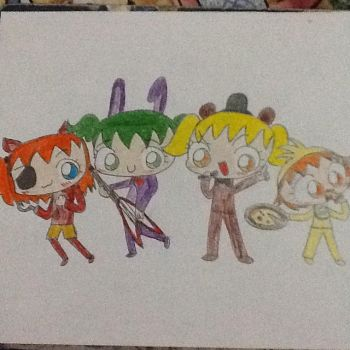 Maruko, Toxic, Meaki and Love as FNAF by chibimachan