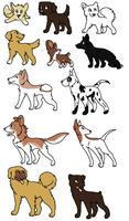 Dog adoptables by SplashtheWhitewolf