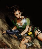 Lara Croft Sliding Down by guimero64