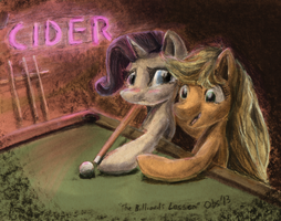 The Billiards Lesson - charcoal and digital color by Obsequiosity